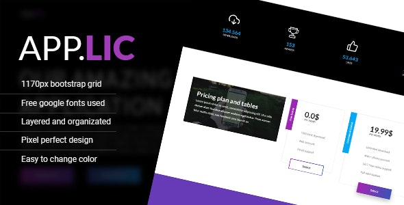 Applic - Photoshop application landing / one page template - Software Technology
