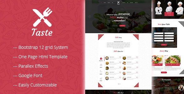 TASTE One Page Restaurant Html Template - Restaurants & Cafes Entertainment