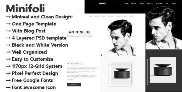 Minifoli - Personal Portfolio PSD Template - Portfolio Creative