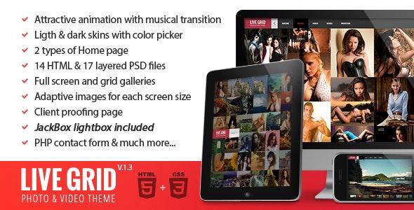 LIVE GRID - Responsive Interactive HTML Portfolio - Photography Creative