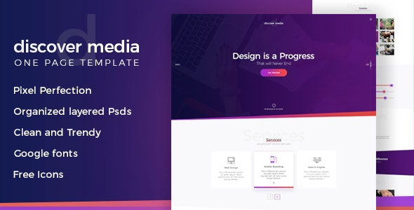 Discover Media - Creative One Page PSD Template - Photoshop UI Templates