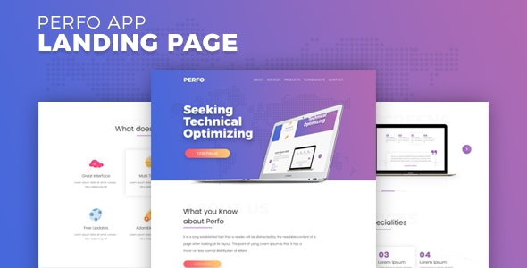 Perfo - Professional App Landing Page. - Technology Site Templates