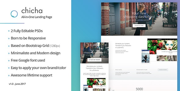 Chicha - The Fashionable Landing Page - Creative Photoshop