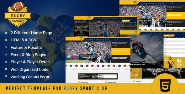 Rugby League HTML Template - Nonprofit Site Templates