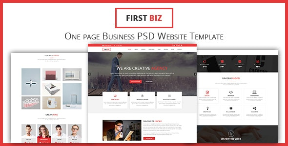 FirstBiz - One Page Business Website PSD Template - Business Corporate