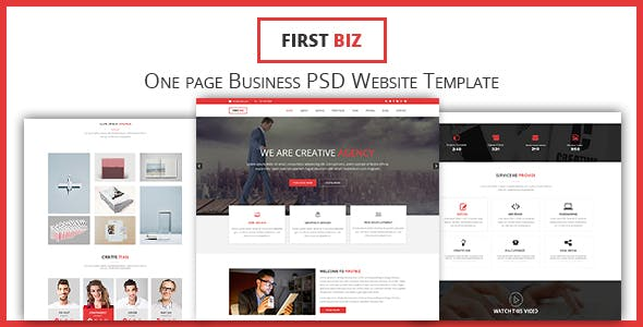 FirstBiz - One Page Business Website PSD Template