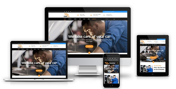 CareCar - Auto Mechanic Workshops for Car Care, Car Repair & Car Wash + RTL - Corporate Site Templates