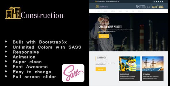 Constructed-Construction, Building, Responsive HTML5  Template