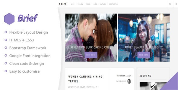 Brief & Blog - Personal Blog Template - Personal Site Templates