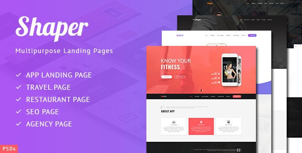 Shaper - Multipurpose Landing Page PSDs - Photoshop UI Templates