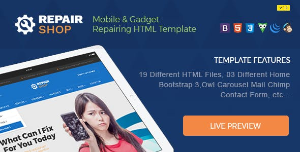 Repair Shop - Mobile & Gadget Repairing HTML Template