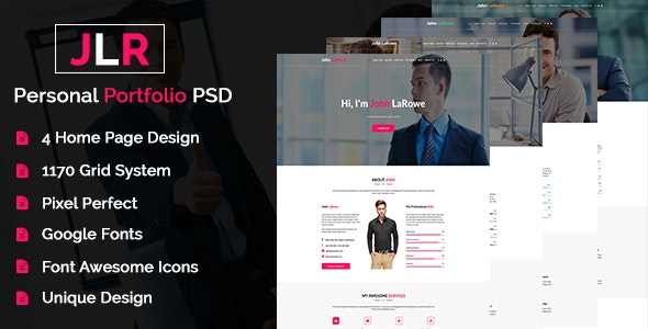 JohnLoRowe - Personal Portfolio PSD Template - Portfolio Creative