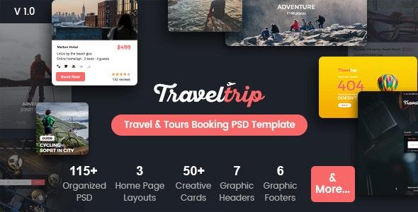 TravelTrip - Flight & Hotel Booking PSD Template - Travel Retail