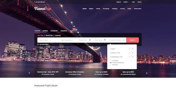 TravelTrip - Flight & Hotel Booking PSD Template