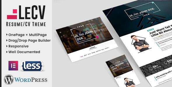 LeCV - Creative Responsive Resume / CV WordPress Theme - Portfolio Creative