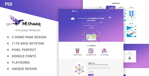 Methaaq-Multi-Purpose One Page PSD Template - Corporate Photoshop