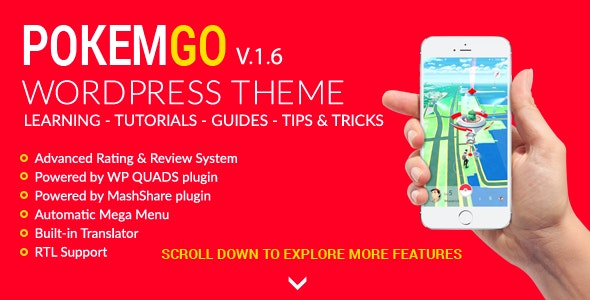 Pokemgo - WordPress Theme for tutorials, learning, guides, tips & tricks - Blog / Magazine WordPress