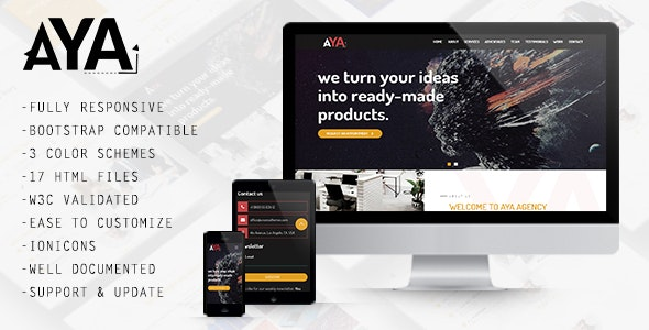 AYA - Creative One Page Template - Creative Site Templates