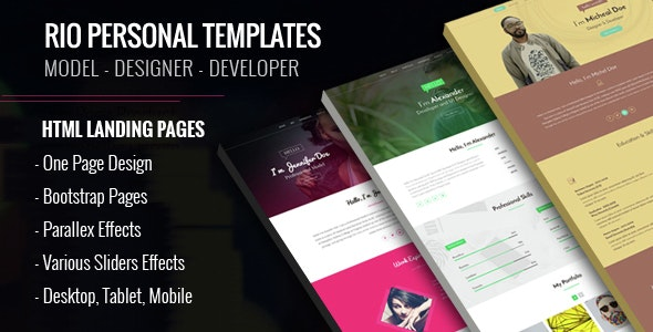 Personal HTML Templates - Rio - Personal Landing Pages