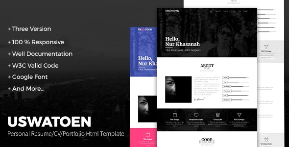 Uswatoen - Personal Resume/CV/Portfolio HTML Template - Personal Site Templates