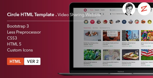 Circle Video Sharing Website HTML Template - Entertainment Site Templates