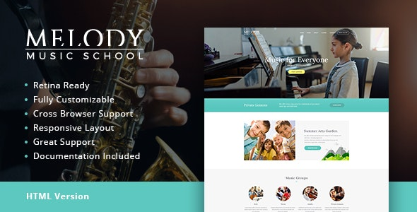 Melody | Music School HTML Template - Retail Site Templates