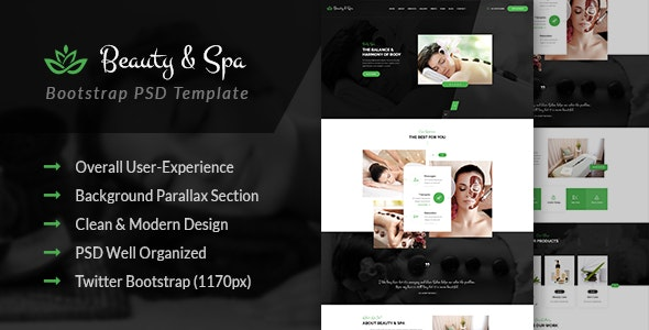 Beauty & Spa - Bootstrap PSD Template - Health & Beauty Retail