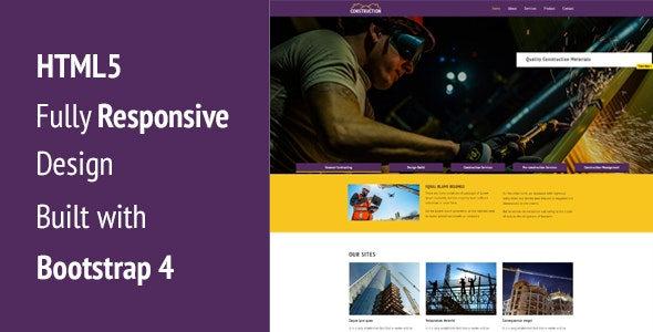 Construction - Industrial Responsive HTML5 Template - Creative Site Templates