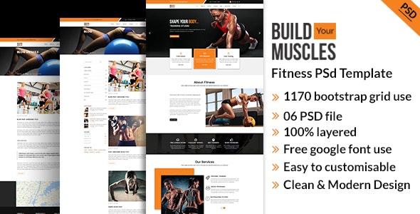 Fitness/Gym PSD Template - Photoshop UI Templates