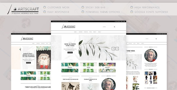 ArtsCraft - Personal WordPress Blog Theme - Personal Blog / Magazine