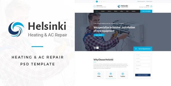 Helsinki : Heating & AC-Repair PSD Template - Business Corporate