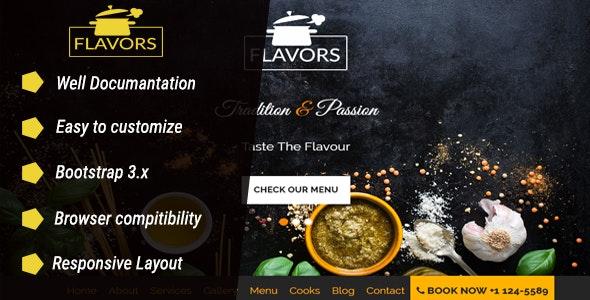 Flavors - Restaurant & cafe responsive HTML5 Template - Restaurants & Cafes Entertainment