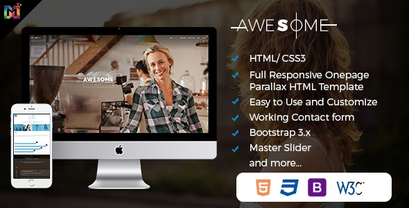 Awesome  - Responsive Onepage Parallax HTML Template - Creative Site Templates