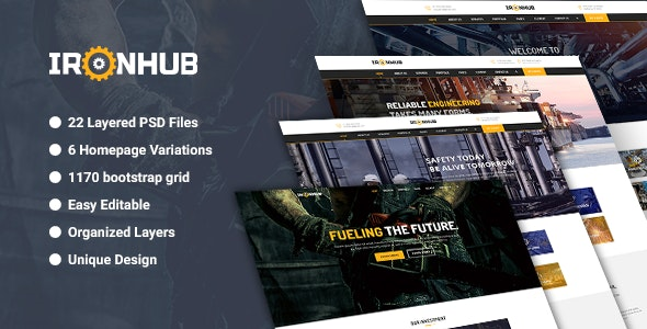 IronHub - Industrial / Factory / Engineering PSD Template - Business Corporate