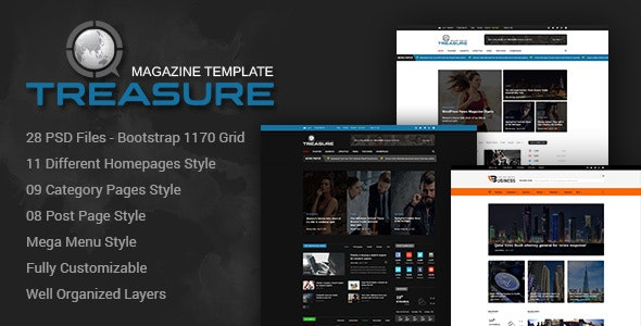 Treasure | Blog and Magazine PSD Template - Photoshop UI Templates