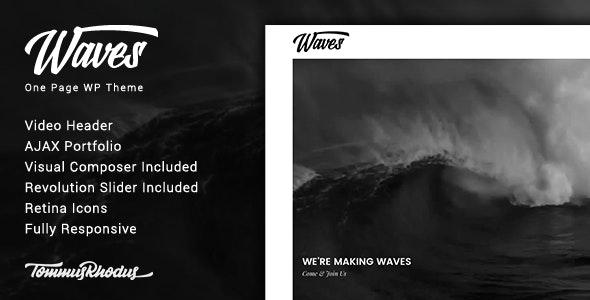 Waves - Fullscreen Video One-Page WordPress Theme by