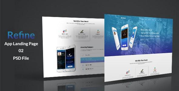 Refine App Landing PSD Template - Photoshop UI Templates