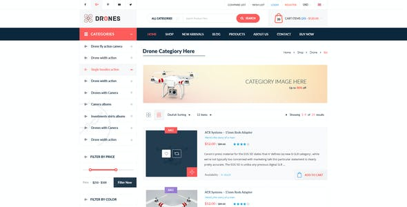 Drones - E-Commerce PSD Template