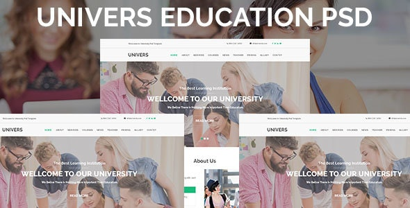 Univers Education One Page PSD Template - Photoshop UI Templates