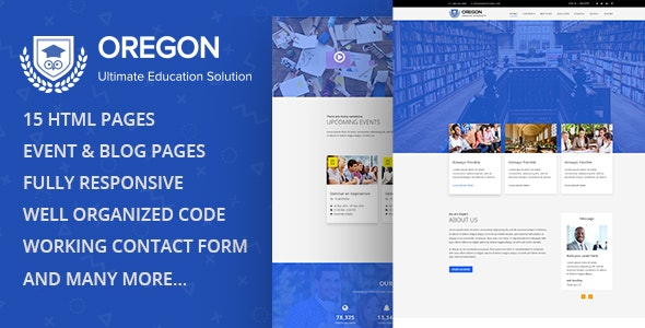 Oregon - Education  MultiPage HTML Template - Site Templates