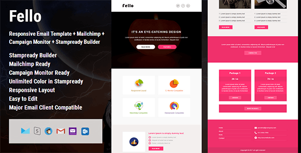 Fello - Responsive Email Template + Campaign Monitor + Mailchimp + Stampready Builder - Email Templates Marketing