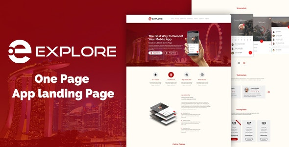 EXPLORE - One Page App Landing Template - Software Technology