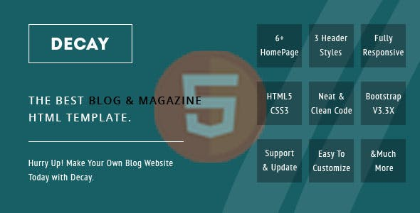 Decay Personal Blog HTML Template