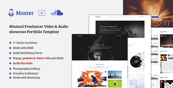 Master - Freelancer Video, Audio Portfolio HTML Template - Portfolio Creative