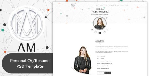 AM- Personal CV / Resume & Portfolio  Template - Personal Photoshop
