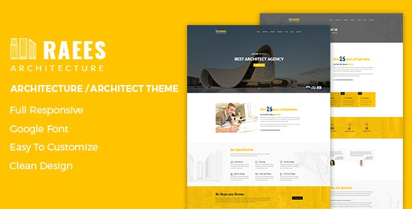 Raees – Creative Responsive Architecture Theme - Business Corporate