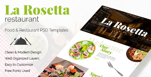 La Rosetta - Multipurpose Restaurant PSD Template - Food Retail