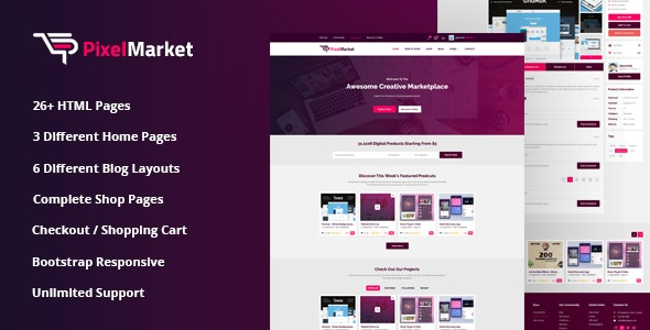 Pixel Market Online Marketplace HTML5 Template - Business Corporate