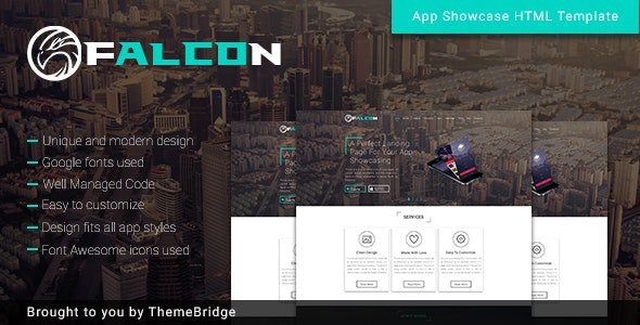 Falcon - Mobile App Landing page with Blog - Corporate Site Templates
