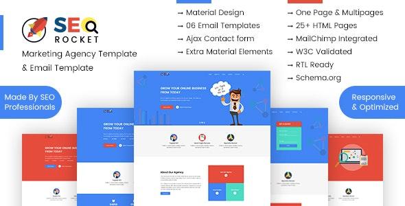 SEO & Digital Marketing Agency Template Pack |  Agency, Re-Marketing Email Template - SEO Rocket - Marketing Corporate